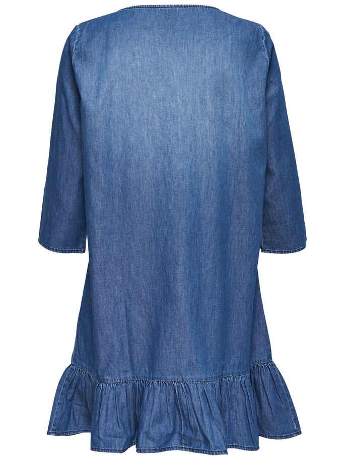 LOOSE DENIM DRESS, Medium Blue Denim, large