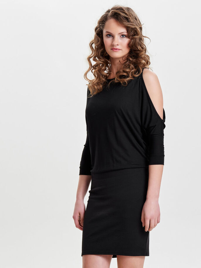 COLD-SHOULDER LANGERMET KJOLE, Black, large