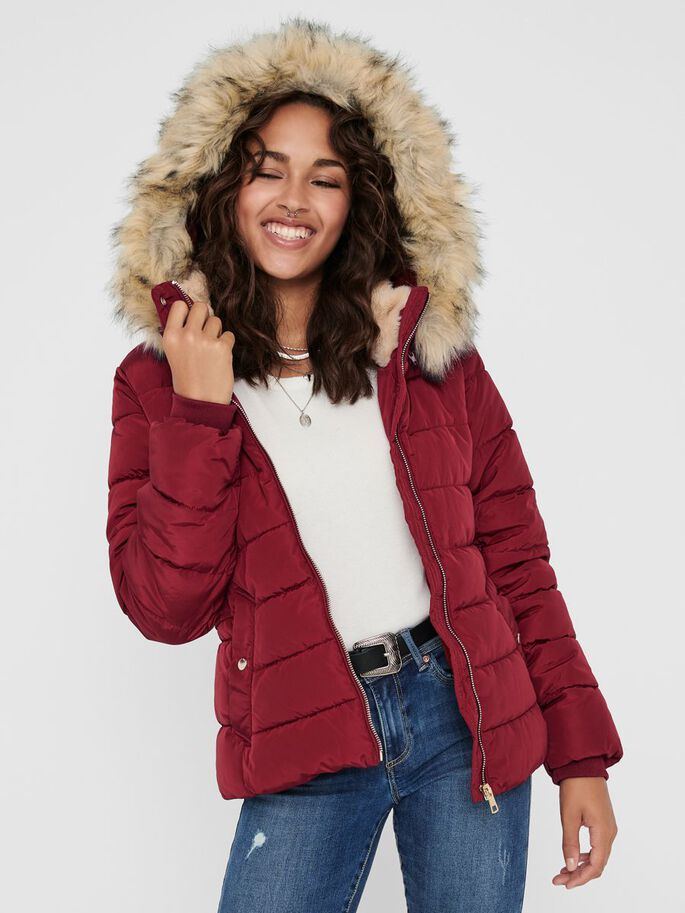 SHORT QUILTED JACKET, Rhubarb, large