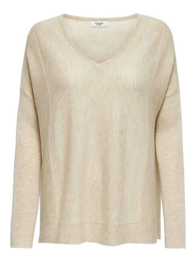V-NECK KNITTED PULLOVER, Oatmeal, large