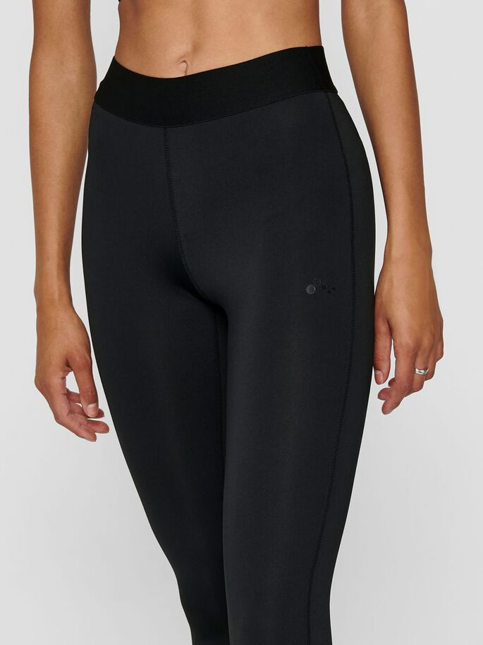 SOLID COLORED TRAINING TIGHTS, Black, large