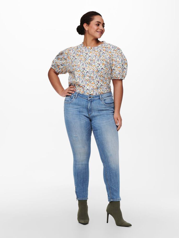 CURVY PRINTED PUFF SLEEVE TOP, White, large