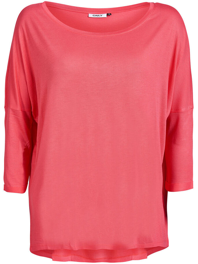 LOOSE 3/4 SLEEVED TOP, Paradise Pink, large