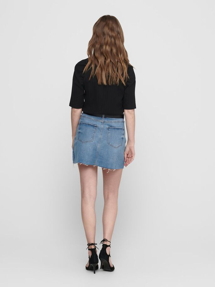 SHORT DENIM SKIRT, Light Blue Denim, large