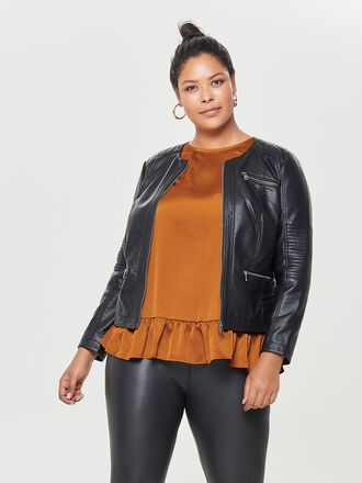 CURVY LEATHER LOOK JACKET