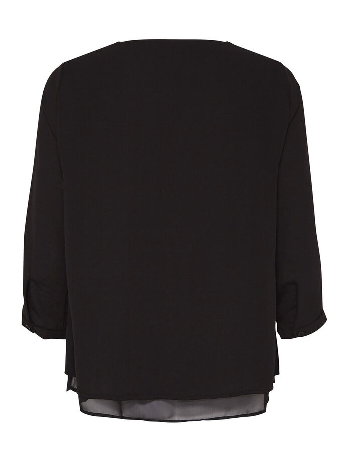 SOLID 3/4 SLEEVED TOP, Black, large