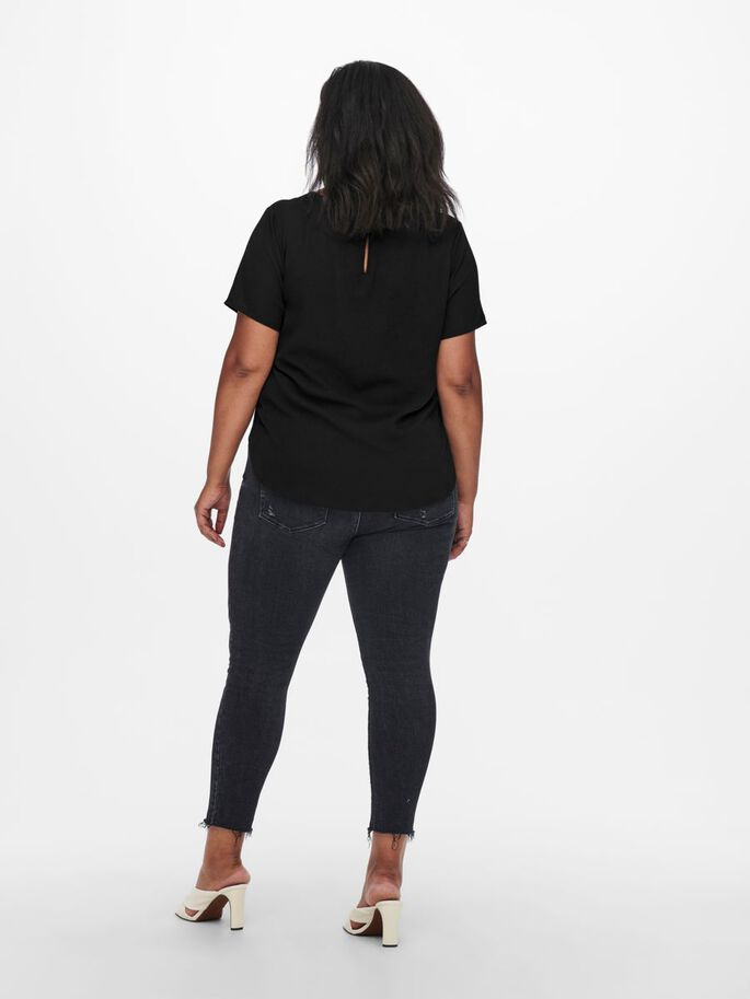 CURVY SOLID COLORED TOP, Black, large
