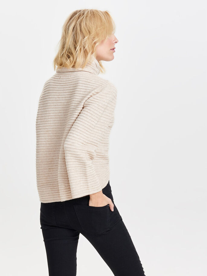 COL ROULÉ PULL EN MAILLE, Pumice Stone, large