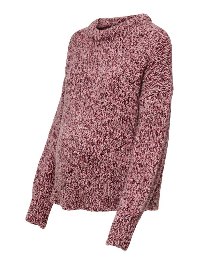 MAMA O-NECK KNITTED PULLOVER, Chestnut, large