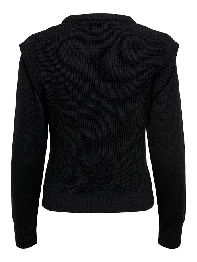 SOLID COLORED KNITTED PULLOVER, Black, large