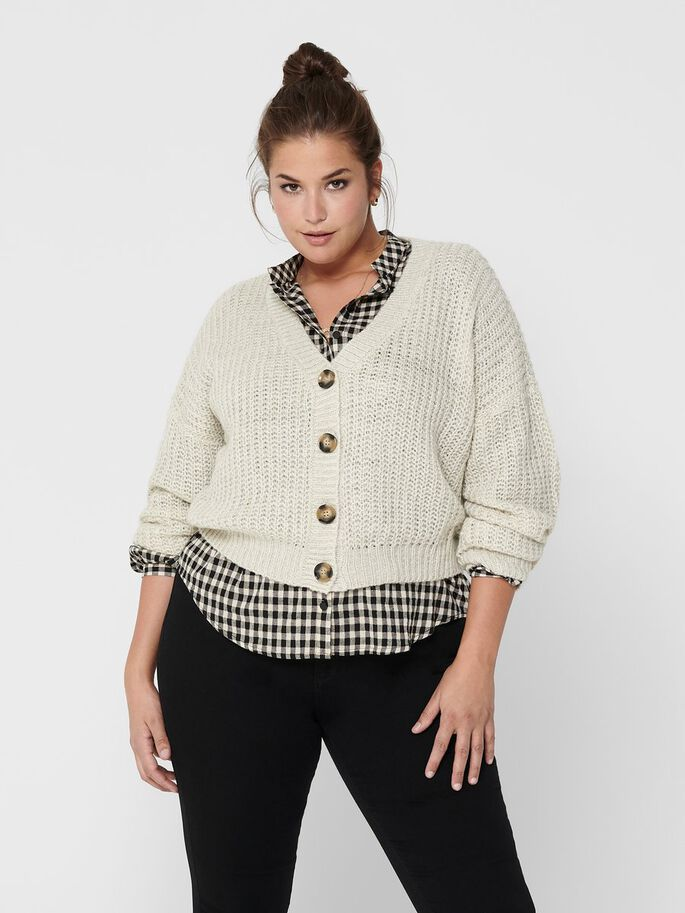 CURVY BUTTON KNITTED CARDIGAN, White, large