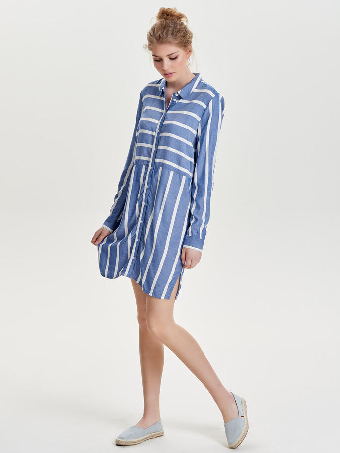 LONG SLEEVED STRIPED DRESS, Cloud Dancer, large