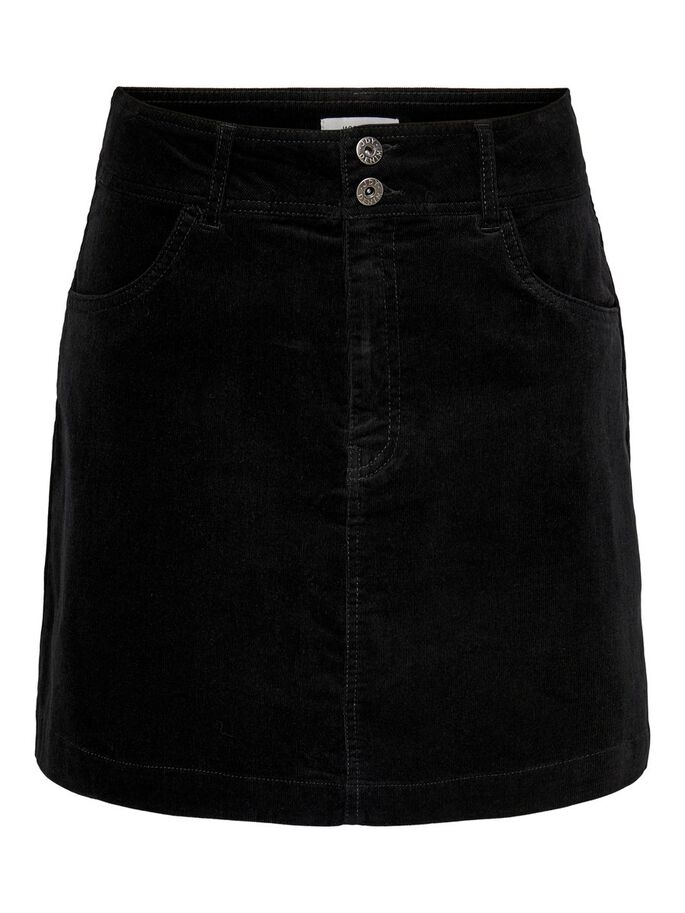 SOLID COLORED CORDUROY SKIRT, Black, large