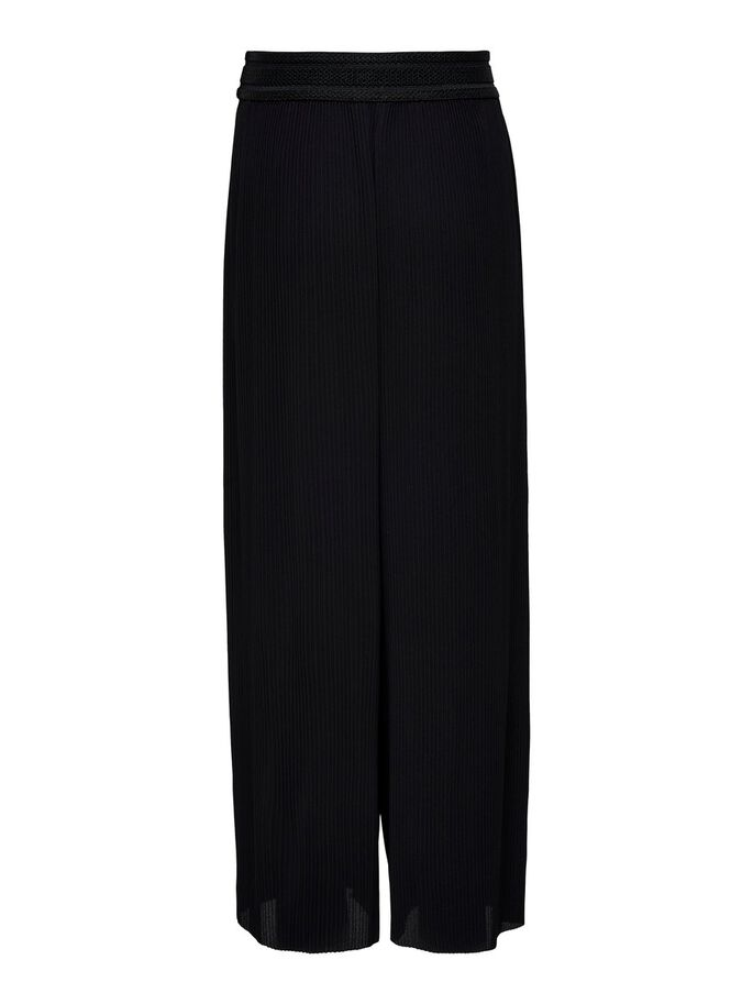 PLISSÉ TROUSERS, Black, large