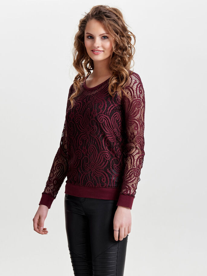 BLONDE TOP MET LANGE MOUWEN, Sassafras, large