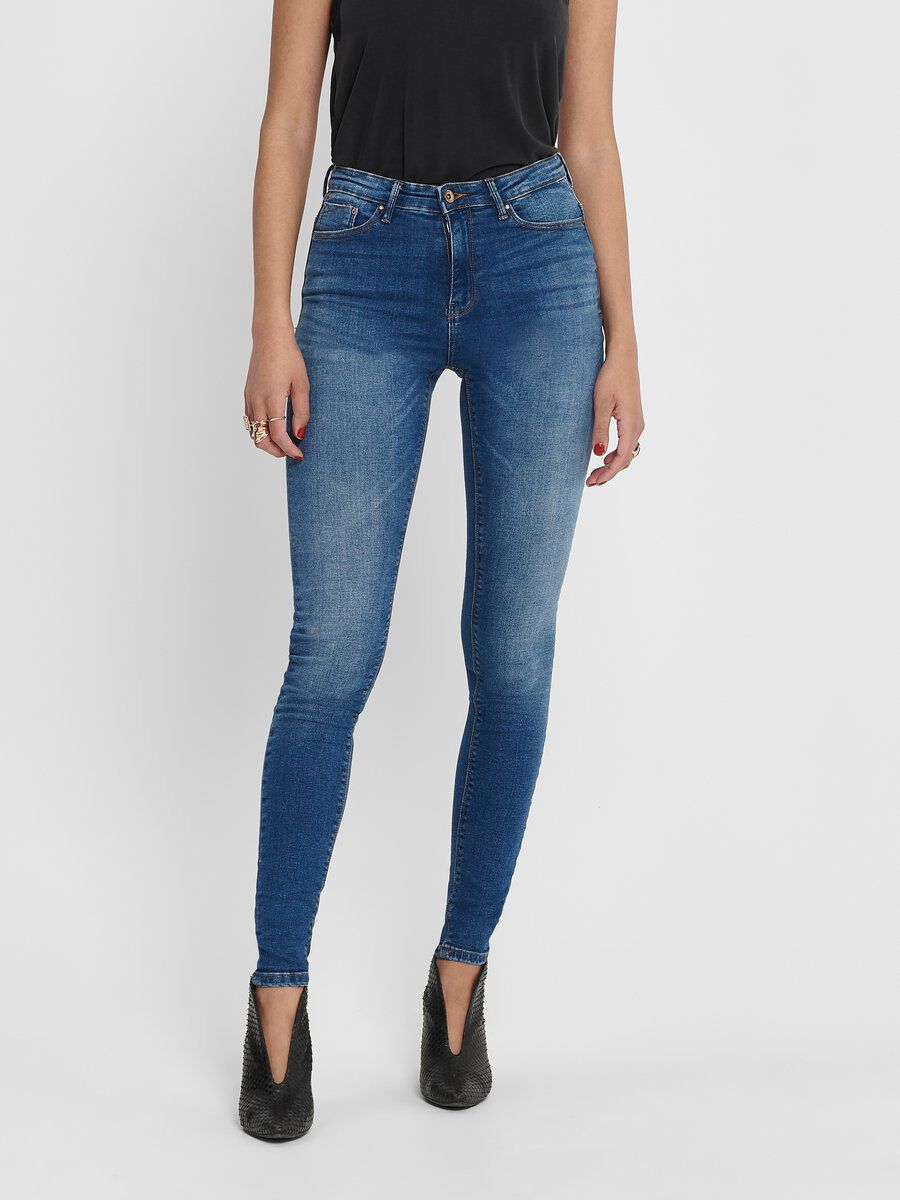 Womens Only Faye High Waist Straight Ankle Jeans In Medium Blue Denim