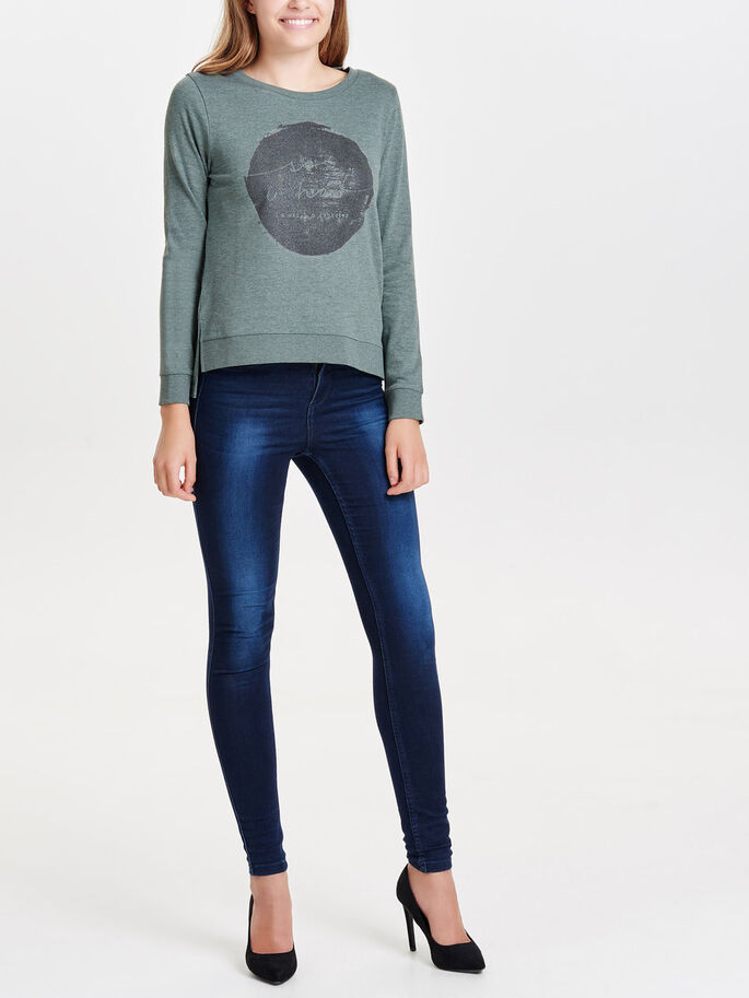 PRINTET SWEATSHIRT, Balsam Green, large