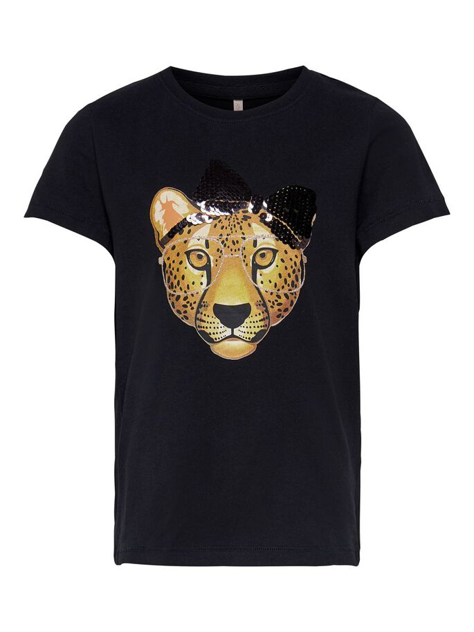 FRONT PRINT T-SHIRT, Black, large