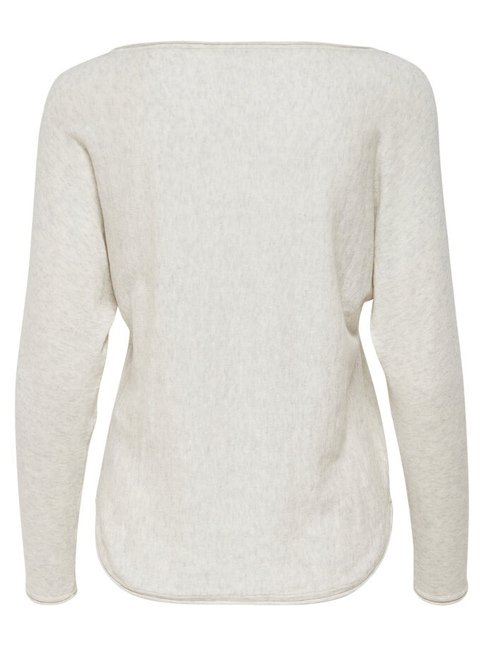 EINFARBIGER STRICKPULLOVER, Bright White, large