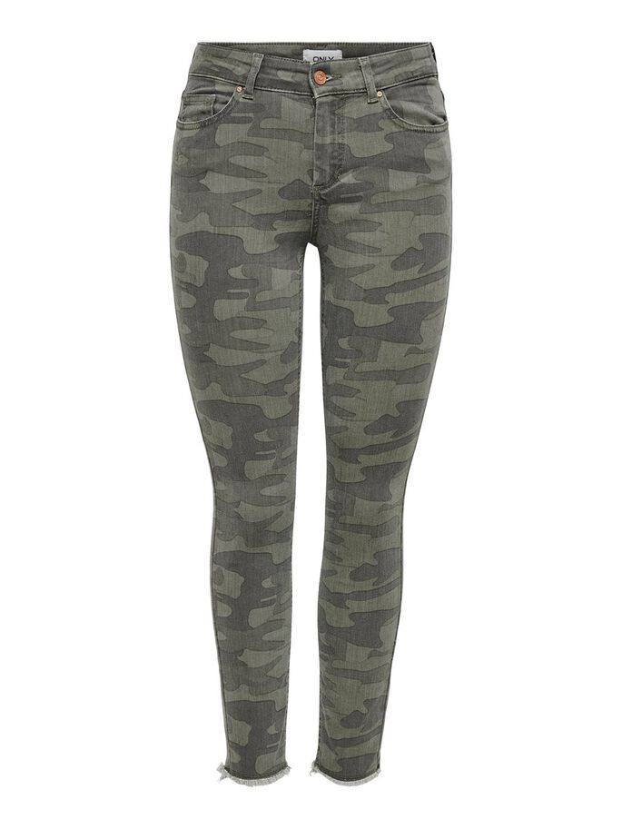 ONLBLUSH LIFE MID SK RAW ANK CAMO MID-RISE JEANS, Deep Lichen Green, large
