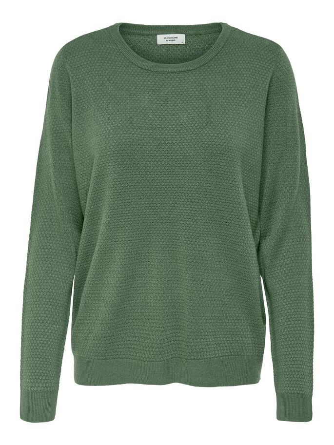 SOLID COLORED KNITTED PULLOVER, Thyme, large