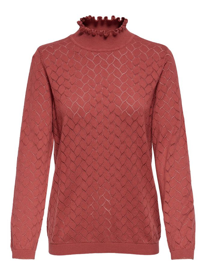 STEHKRAGEN STRICKPULLOVER, Mineral Red, large