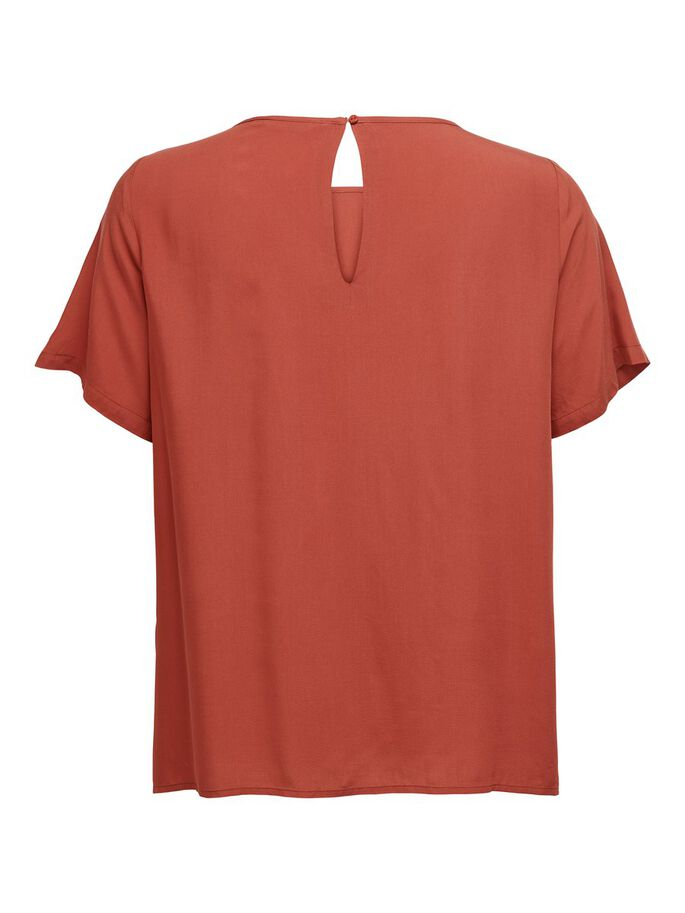 CURVY SHORT SLEEVED TOP, Hot Sauce, large