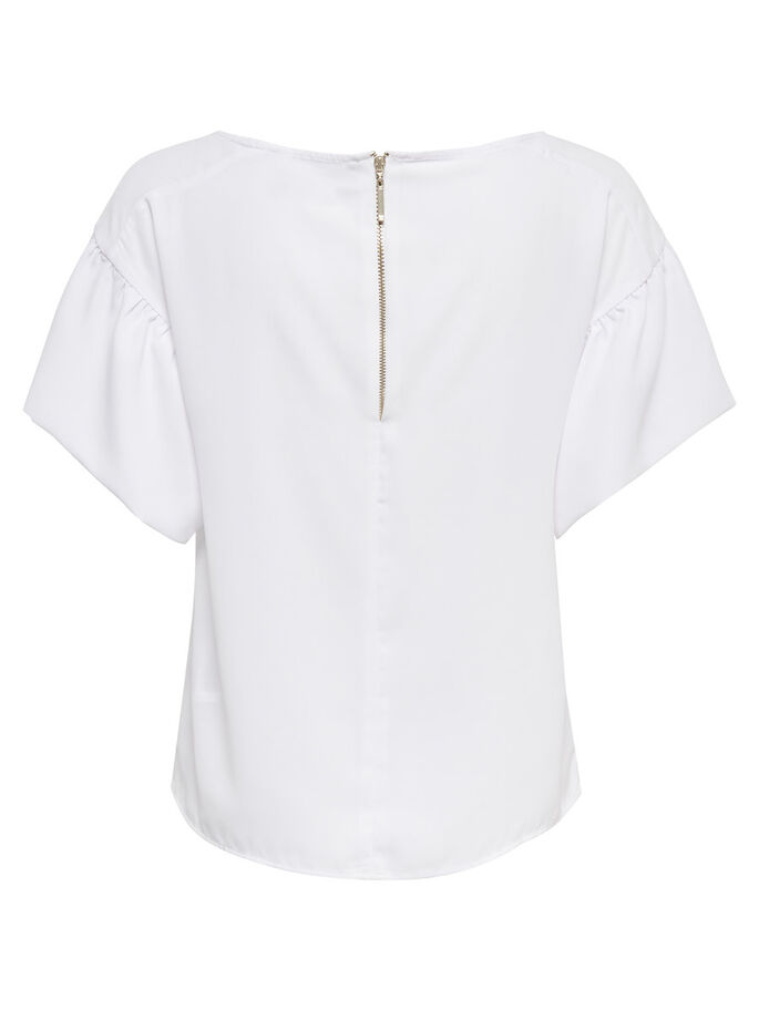 PEPLUM SHORT SLEEVED TOP, White, large
