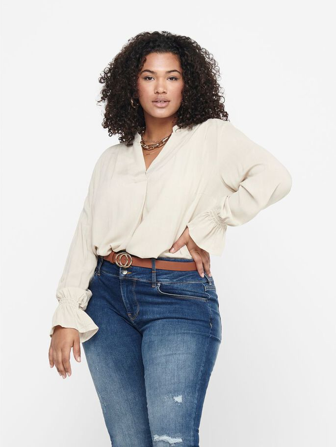 CURVY LONG SLEEVED TOP, Pumice Stone, large