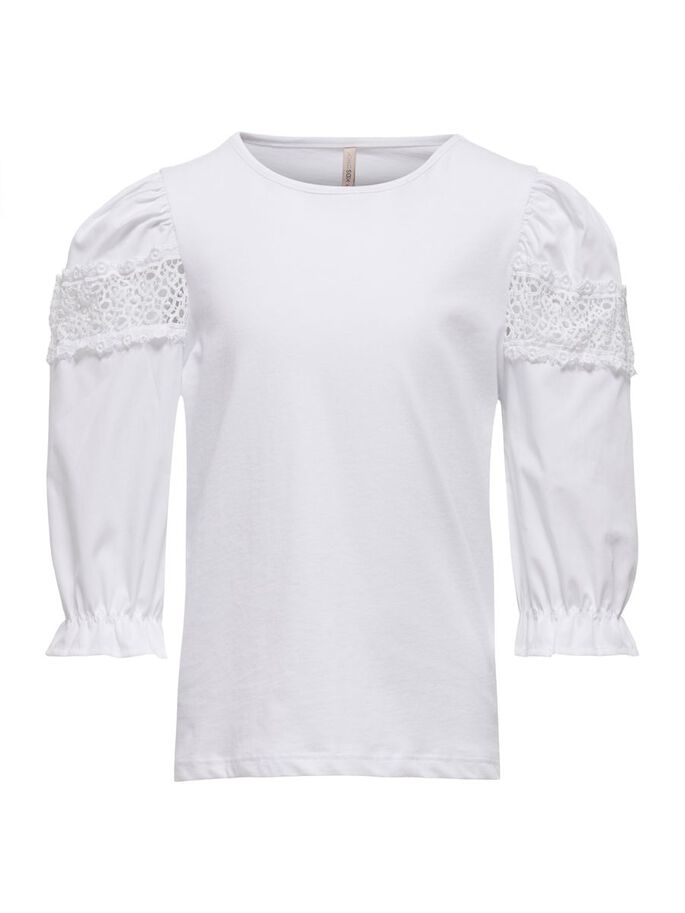 LACE DETAIL 3/4 SLEEVED TOP, Bright White, large