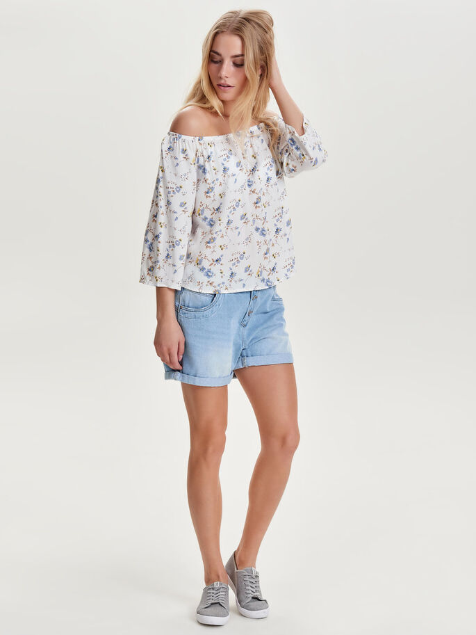 OFF-SHOULDER TOP MET KORTE MOUWEN, Cloud Dancer, large