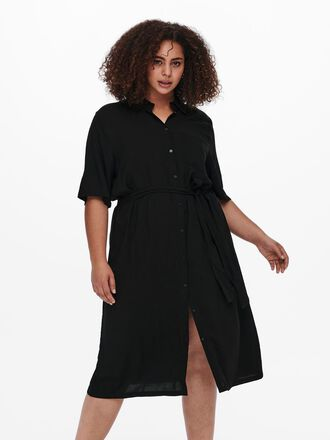 CURVY SOLID COLORED SHIRT DRESS