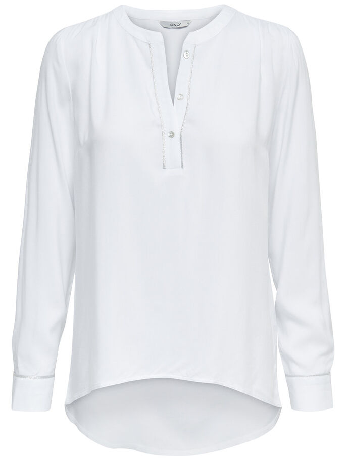 SOLID LONG SLEEVED SHIRT, White, large