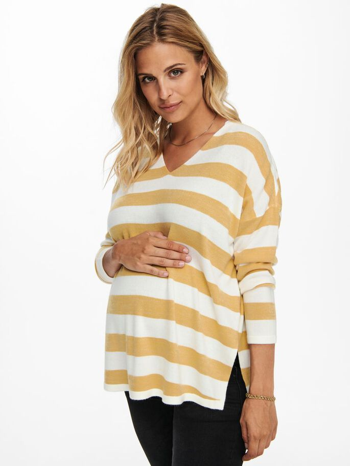 MAMA STRIPED KNITTED PULLOVER, Tawny Olive, large