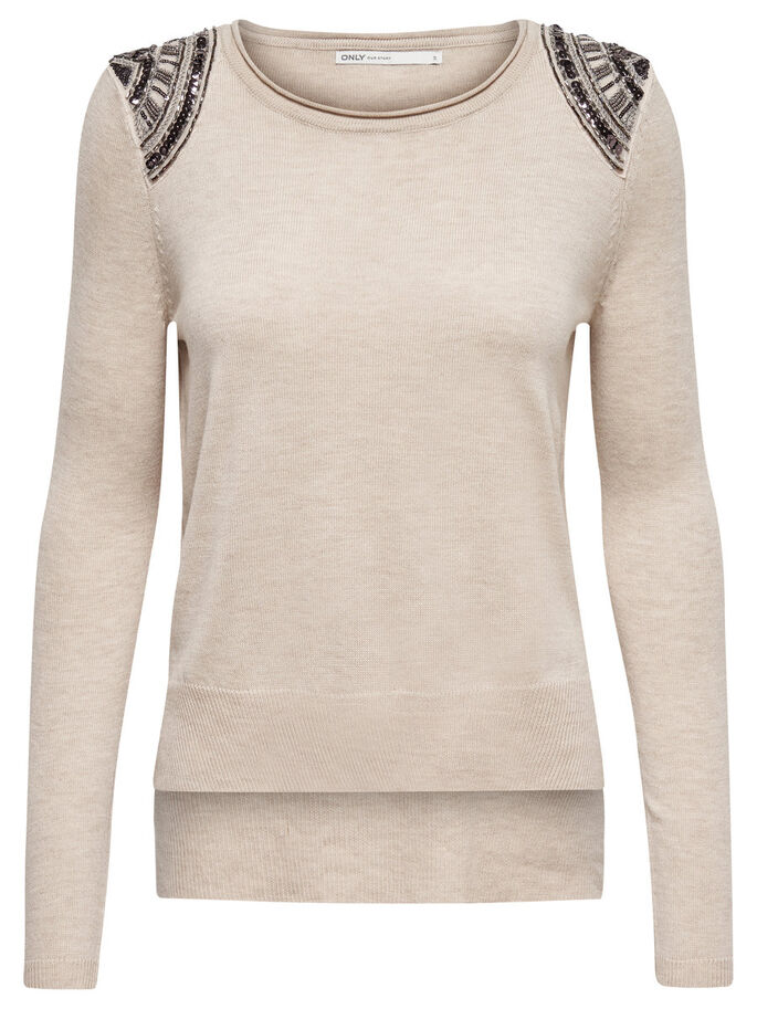 DETAILED KNITTED PULLOVER, Pumice Stone, large