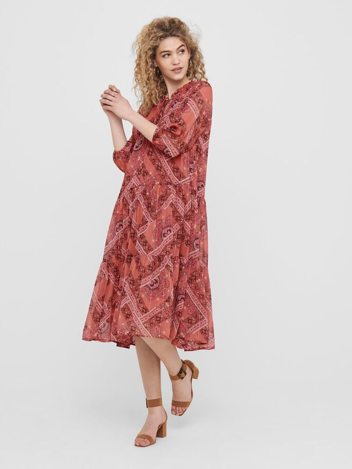 PRINTED MIDI DRESS, Hot Sauce, large