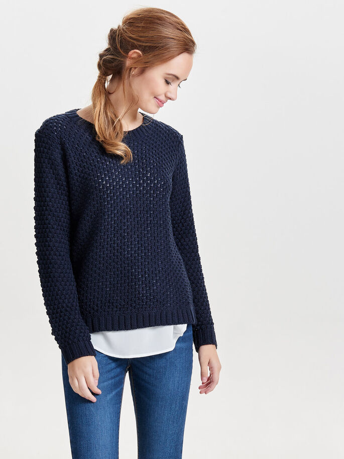 LONG KNITTED PULLOVER, Sky Captain, large