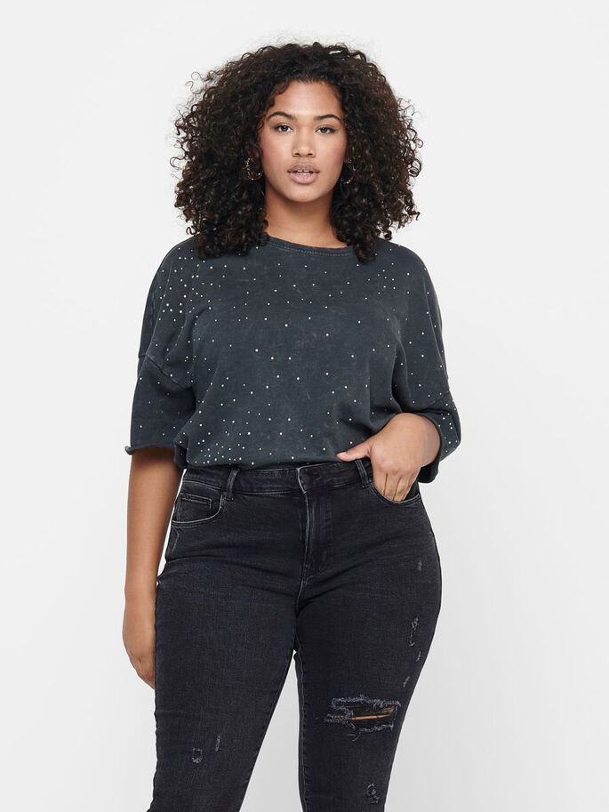 CURVY GLITTER T-SHIRT, Black, large