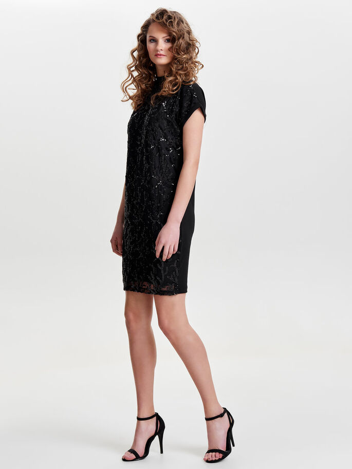 SEQUINS DETAILED SHORT SLEEVED DRESS, Black, large