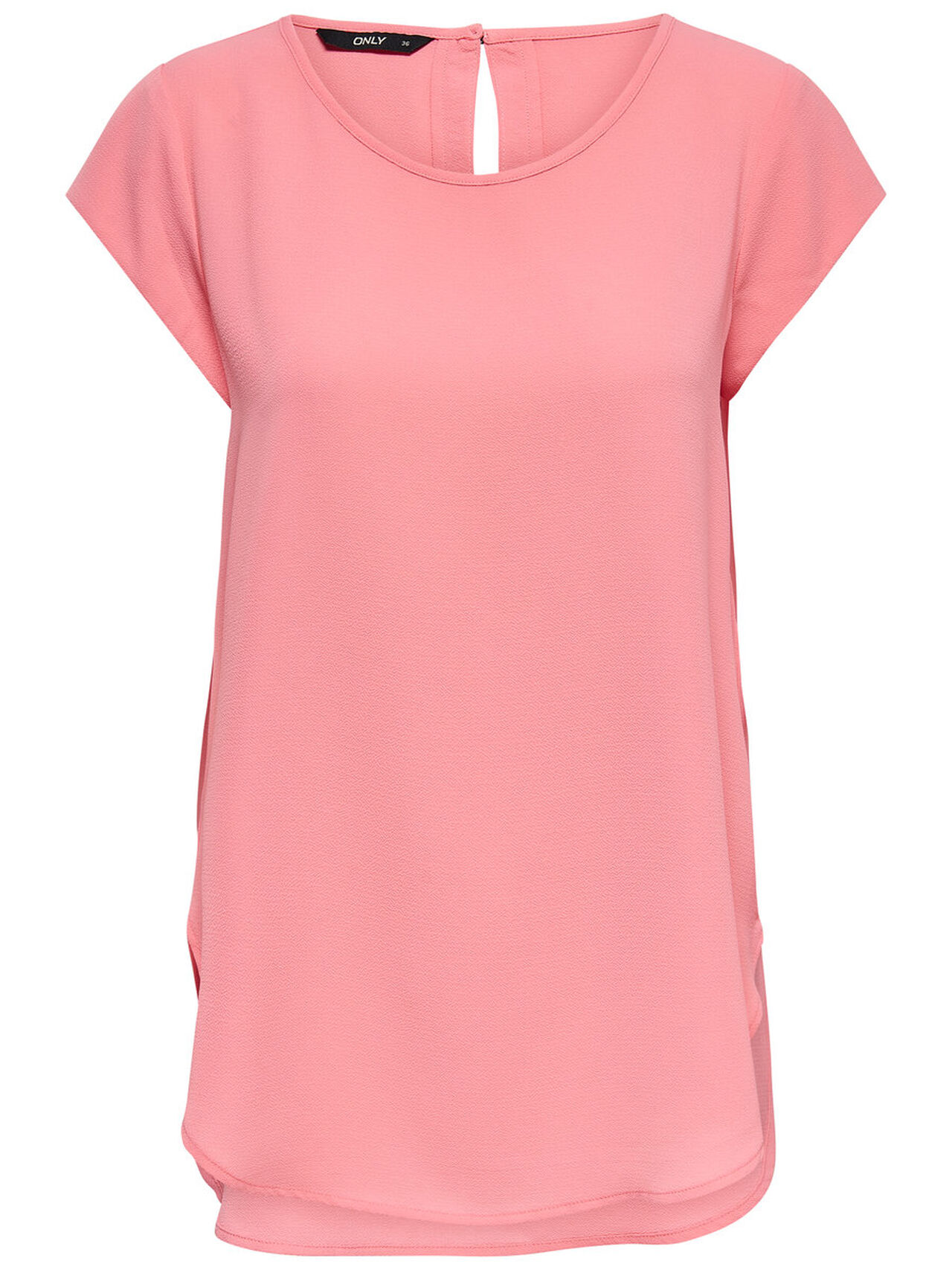 ONLY Solid Short Sleeved Top Women Pink