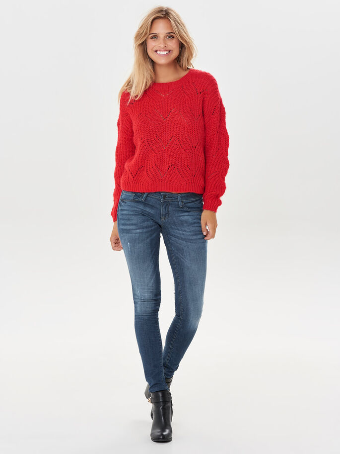 DETAILED KNITTED PULLOVER, Goji Berry, large