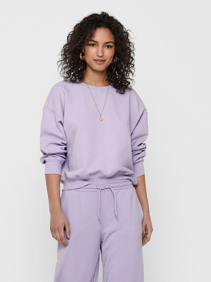 SOLID COLORED SWEATSHIRT, Pastel Lilac, large