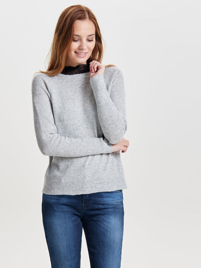 HØJHALSET STRIKKET PULLOVER, Light Grey Melange, large