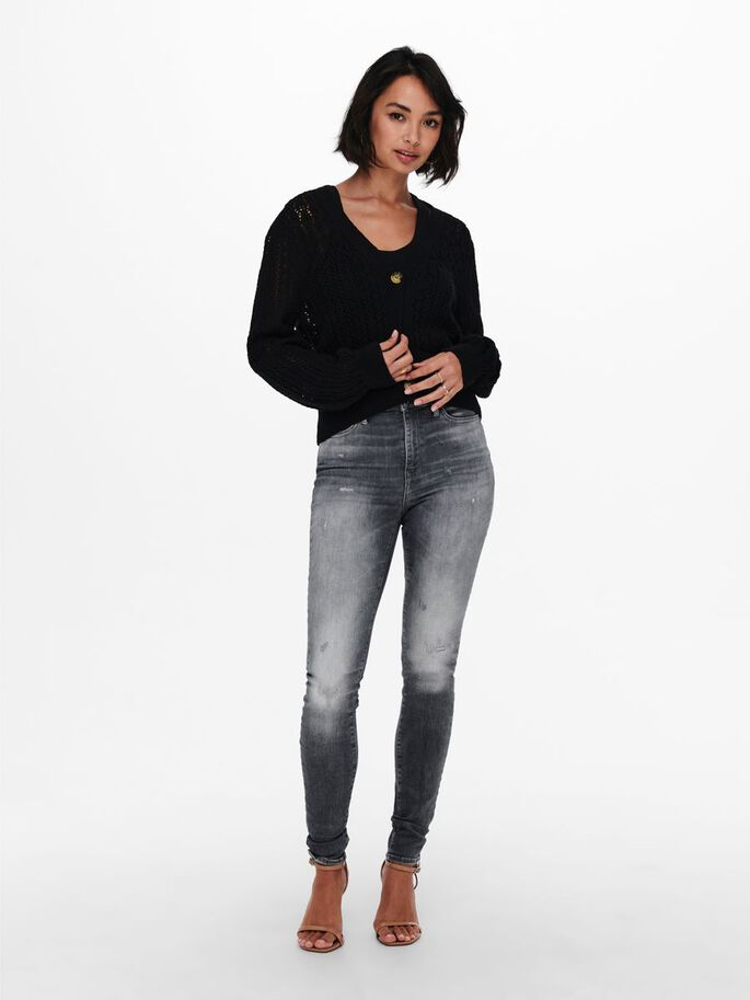 DETAILED KNITTED CARDIGAN, Black, large