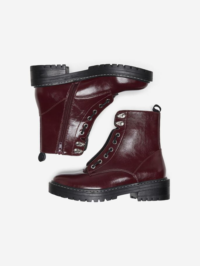 LEATHER LOOK BOOTS, Burgundy, large