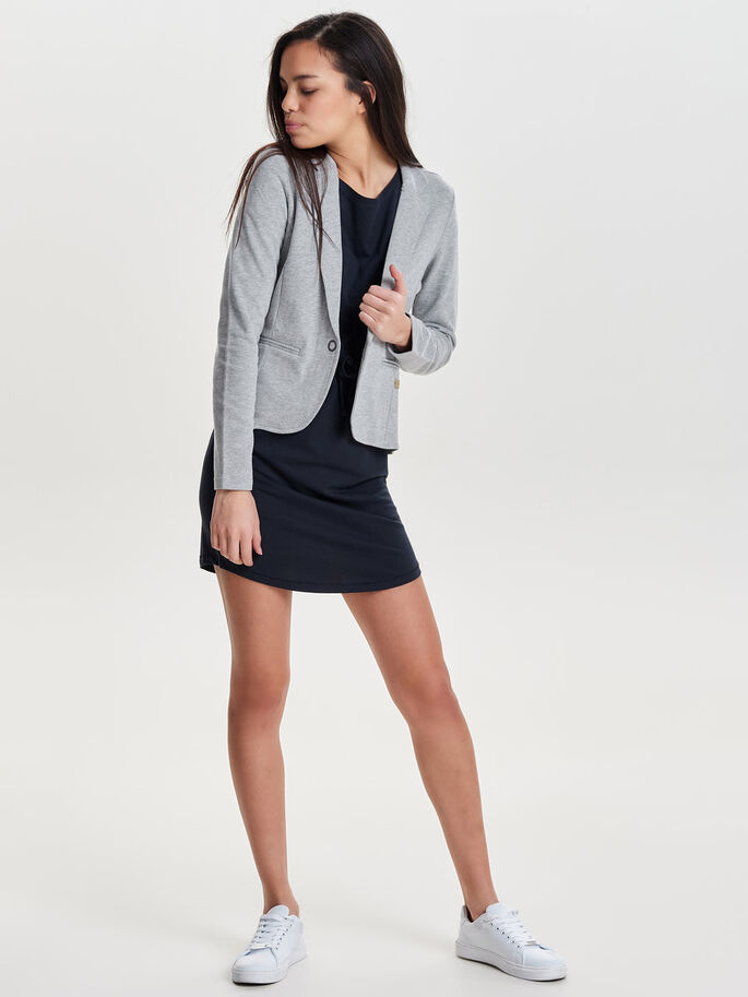 COULEUR UNIE BLAZER, Light Grey Melange, large