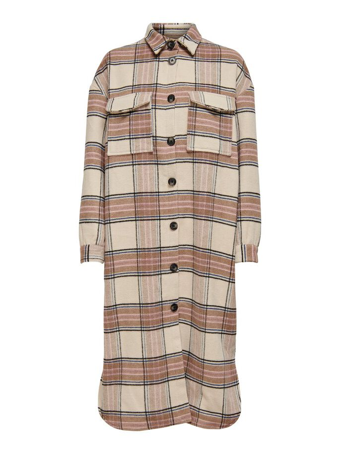 LONG CHECKED COAT, Whitecap Gray, large