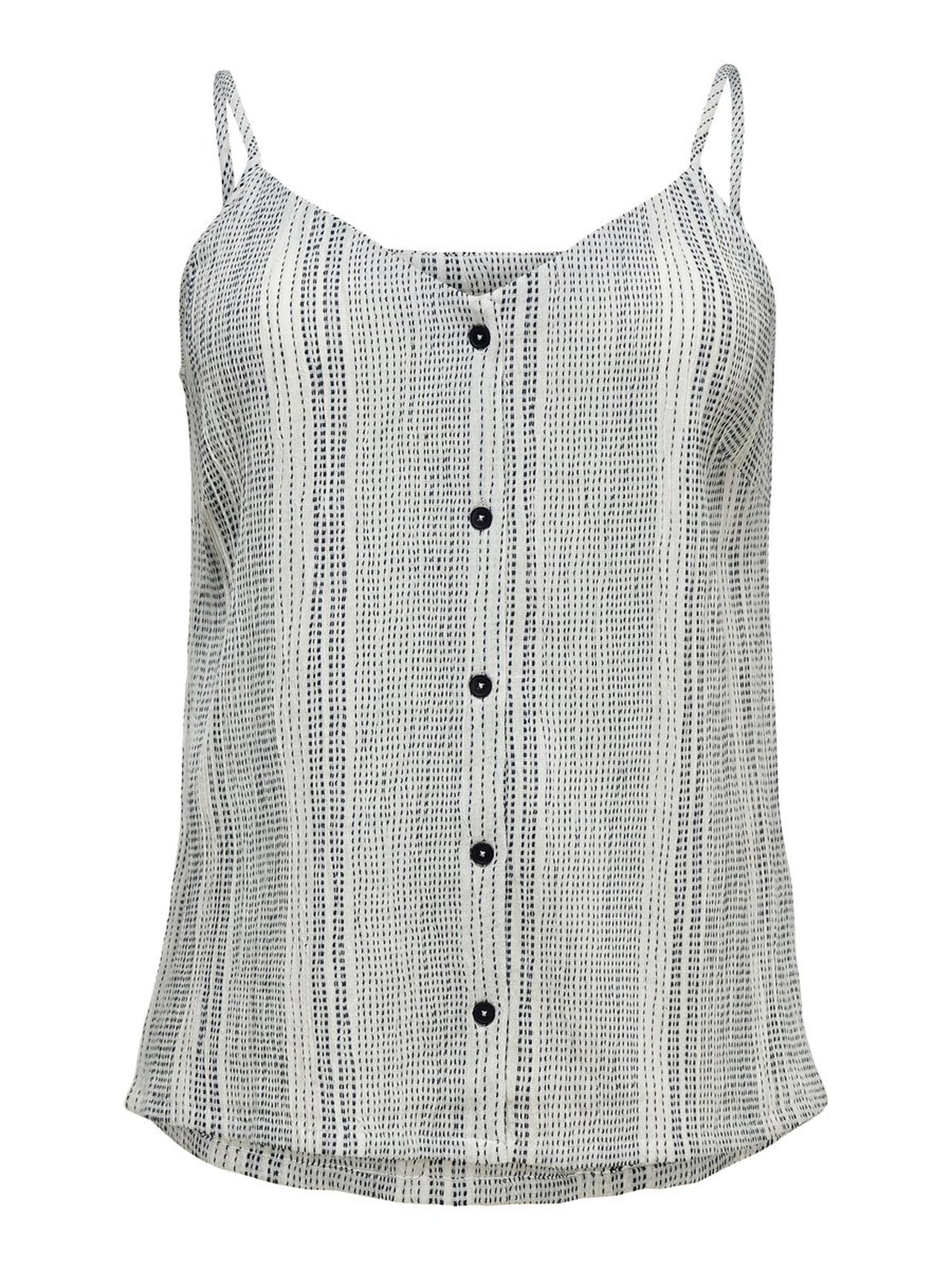 ONLY Curvy Button Sleeveless Top Women White