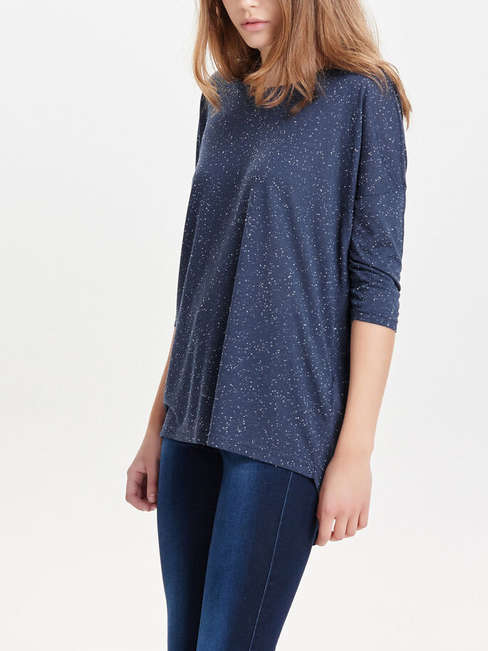 OVERSIZED TOP MET 3/4 MOUWEN, Mood Indigo, large