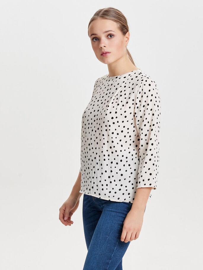 PRINT TOP MET LANGE MOUWEN, Whitecap Gray, large